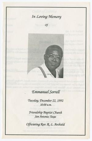 Primary view of object titled '[Funeral Program for Emmanuel Sorrell, December 22, 1992]'.