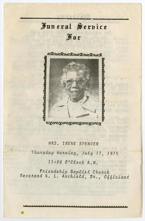 Primary view of object titled '[Funeral Program for Irene Spencer, July 17, 1975]'.