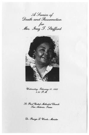 Primary view of object titled '[Funeral Program for Inez T. Stafford, February 10, 1982]'.