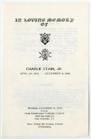 [Funeral Program for Charlie Stain, Jr., December 15, 1986]