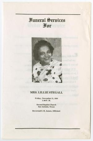 Primary view of object titled '[Funeral Program for Lillie Stegall, November 21, 1980]'.