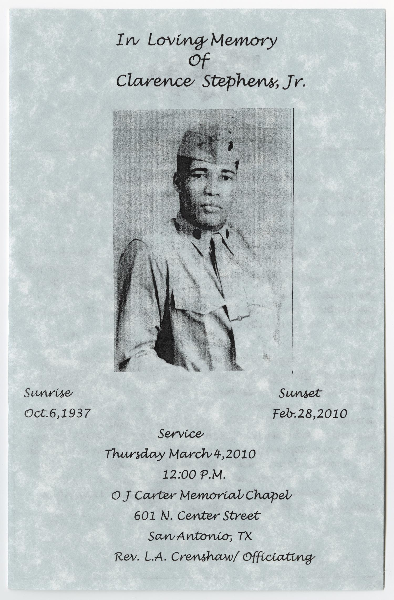 [Funeral Program for Clarence Stepens, Jr., March 4, 2010]                                                                                                      [Sequence #]: 1 of 3