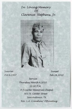 Primary view of object titled '[Funeral Program for Clarence Stepens, Jr., March 4, 2010]'.