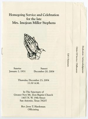 Primary view of object titled '[Funeral Program for Imojean Miller Stephens, December 23, 2004]'.