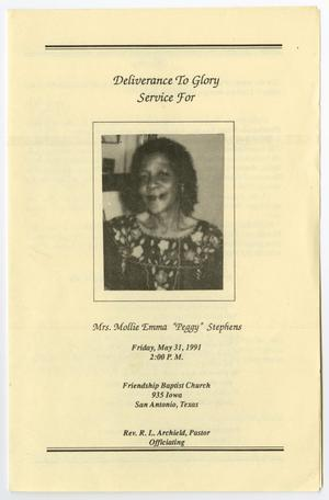 Primary view of object titled '[Funeral Program for Mollie Emma Stephens, May 31, 1991]'.