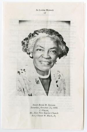 Primary view of object titled '[Funeral Program for Bessie W. Stevens, October 25, 1986]'.