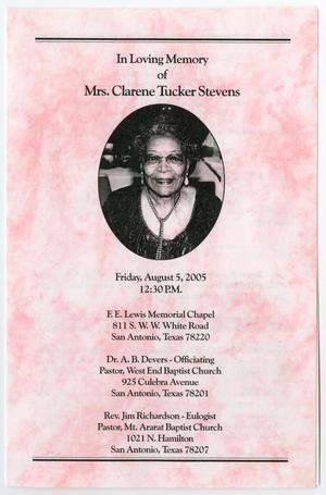 Primary view of object titled '[Funeral Program for Clarene Tucker Stevens, August 5, 2005]'.