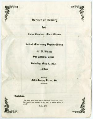 Primary view of object titled '[Funeral Program for Constance Marie Stevens, May 8, 1982]'.