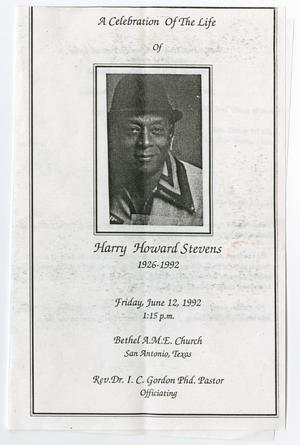 Primary view of object titled '[Funeral Program for Harry Howard Stevens, June 12, 1992]'.