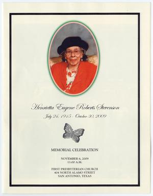 Primary view of object titled '[Memorial Program for Henrietta Eugene Roberts Stevenson, November 6, 2009]'.