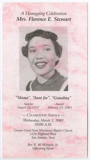 [Funeral Program for Florence E. Stewart, March 5, 2003]