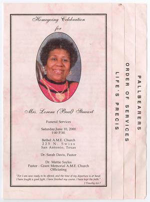 Primary view of object titled '[Funeral Program for Lorene Stewart, June 10, 2000]'.