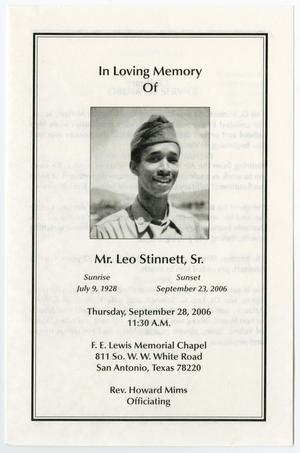 Primary view of object titled '[Funeral Program for Leo Stinnett, Sr., September 28, 2006]'.