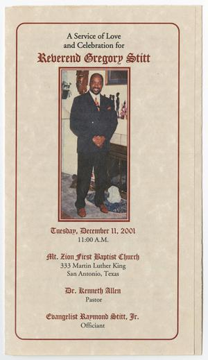 Primary view of object titled '[Funeral Program for Gregory Stitt, December 11, 2001]'.