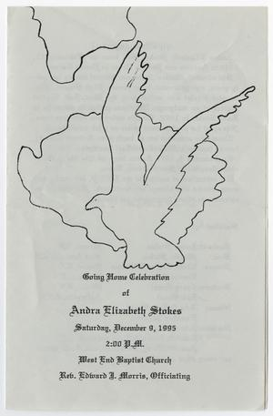 Primary view of object titled '[Funeral Program for Andra Elizabeth Stokes, December 9, 1995]'.
