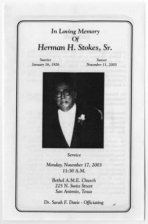 Primary view of object titled '[Funeral Program for Herman H. Stokes, Sr., November 17, 2003]'.