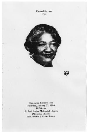 Primary view of object titled '[Funeral Program for Alma Lucille Stone, January 25, 1986]'.