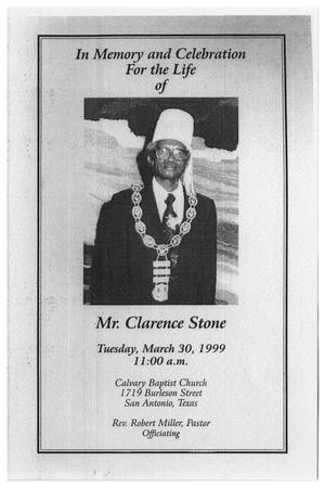 Primary view of object titled '[Funeral Program for Clarence Stone, March 30, 1999]'.