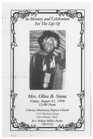 Primary view of object titled '[Funeral Program for Olive B. Stone, August 21, 1998]'.