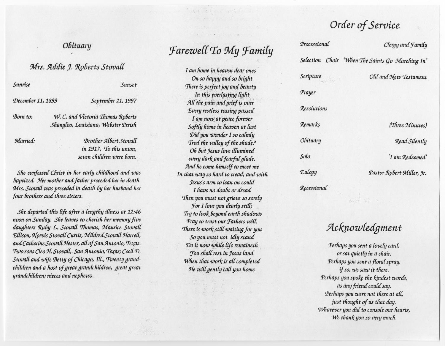 [Funeral Program for Addie J. Roberts Stovall, September 26, 1997]                                                                                                      [Sequence #]: 2 of 5