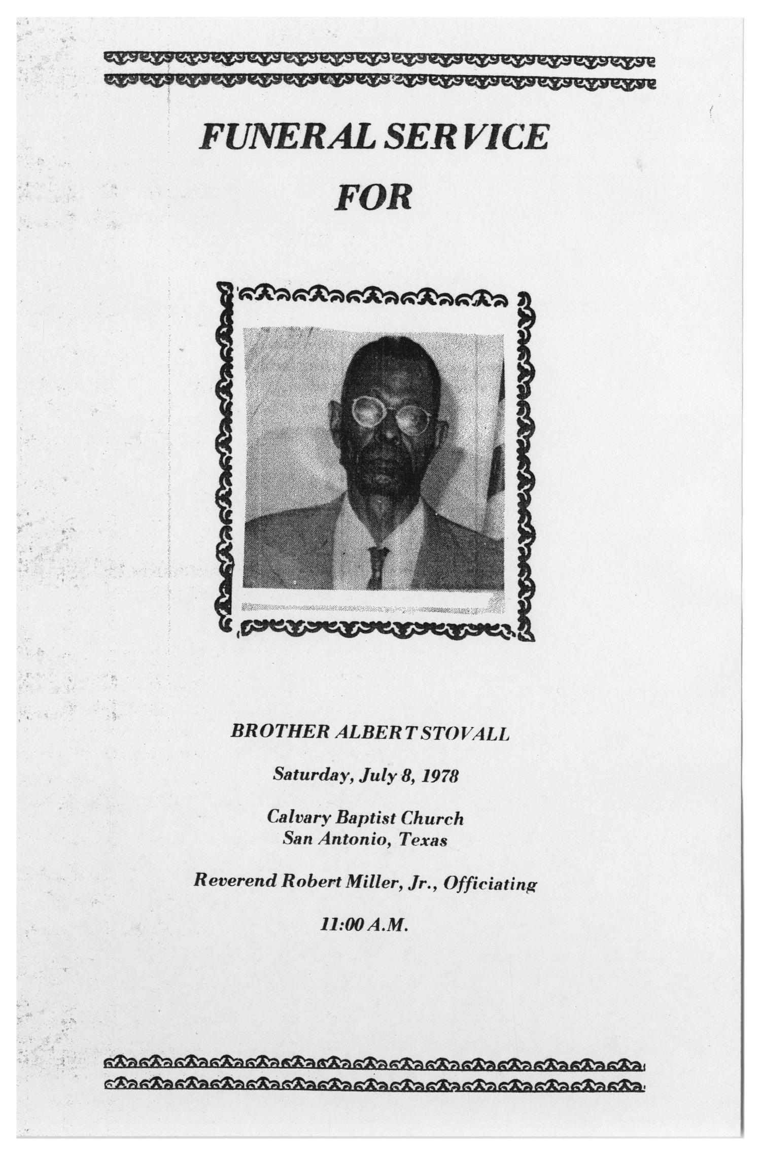 [Funeral Program for Albert Stovall, July 8, 1978]                                                                                                      [Sequence #]: 1 of 5