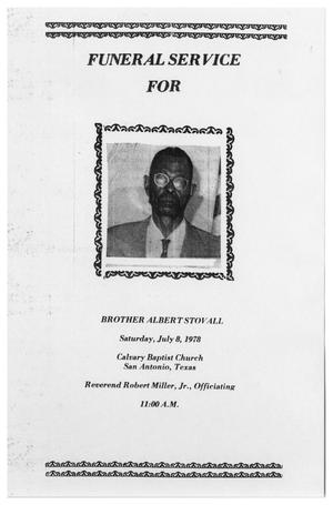 Primary view of object titled '[Funeral Program for Albert Stovall, July 8, 1978]'.