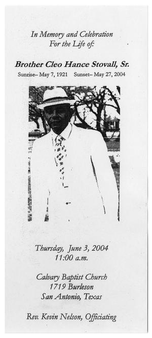 Primary view of object titled '[Funeral Program for Cleo Hance Stovall, Sr., June 3, 2004]'.