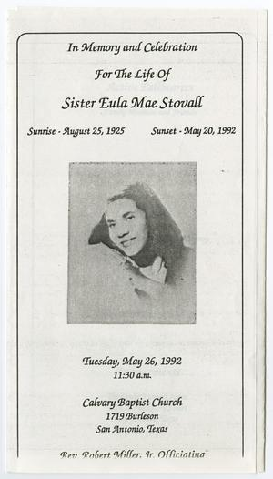 [Funeral Program for Eula Mae Stovall, May 26, 1992]