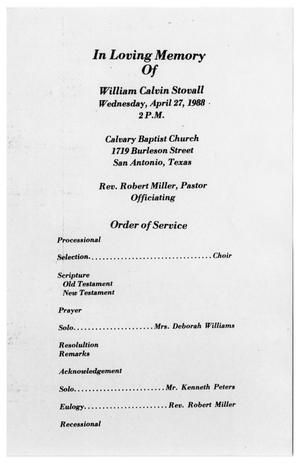 Primary view of object titled '[Funeral Program for William Calvin Stovall, April 27, 1988]'.