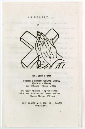 Primary view of object titled '[Funeral Program for Lena Strain, April 5, 1979]'.