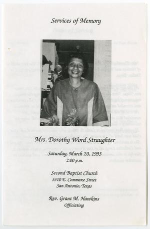 Primary view of object titled '[Funeral Program for Dorothy Word Straughter, March 20, 1993]'.