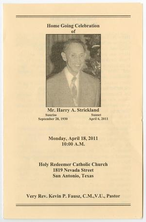 Primary view of object titled '[Funeral Program for Harry A. Strickland, April 18, 2011]'.