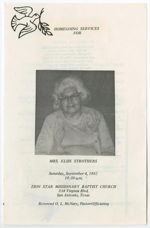 Primary view of object titled '[Funeral Program for Elsie Strothers, September 4, 1982]'.