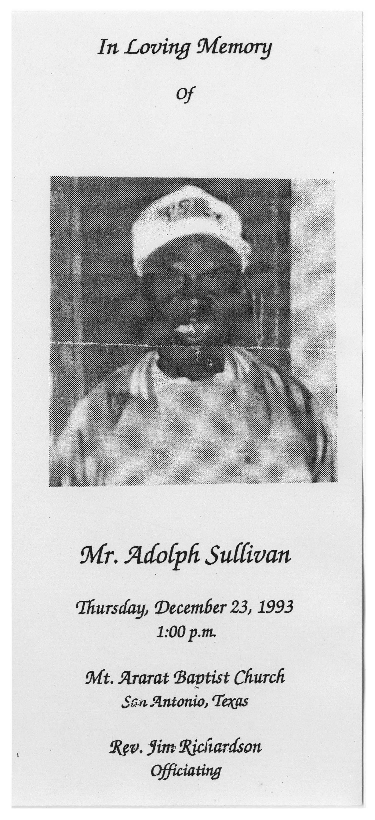 [Funeral Program for Adolph Sullivan, December 23, 1993]                                                                                                      [Sequence #]: 1 of 3