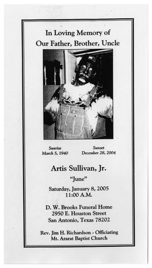 Primary view of object titled '[Funeral Program for Artis Sullivan, Jr., January 8, 2005]'.