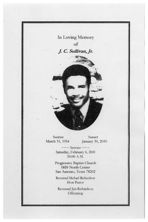 Primary view of object titled '[Funeral Program for J. C. Sullivan, Jr., February 6, 2010]'.