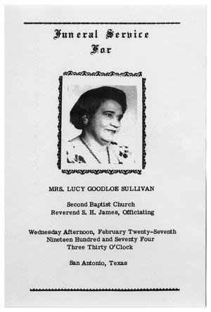 Primary view of object titled '[Funeral Program for Lucy Goodloe Sullivan, February 27, 1974]'.