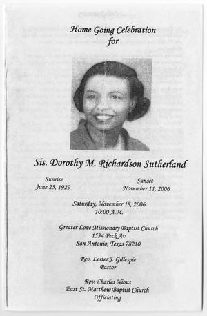 Primary view of object titled '[Funeral Program for Dorothy M. Richardson Sutherland, November 18, 2006]'.