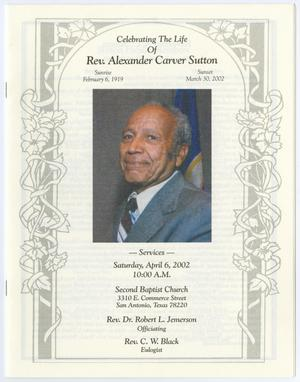 Primary view of object titled '[Funeral Program for Rev. Alexander Carver Sutton, April 6, 2002]'.