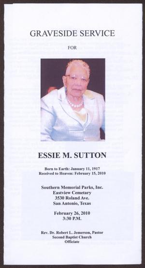 [Funeral Program for Essie M. Sutton, February 26, 2010]