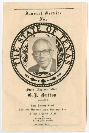 Primary view of object titled '[Funeral Program for G. J. Sutton, June 26, 1976]'.