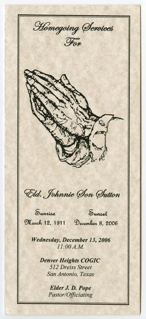 Primary view of object titled '[Funeral Program for Johnnie Son Sutton, December 13, 2006]'.