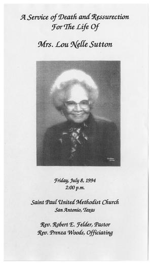 Primary view of object titled '[Funeral Program for Lou Nelle Sutton, July 8, 1994]'.