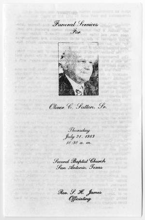 Primary view of object titled '[Funeral Program for Oliver C. Sutton, Sr., July 21, 1983]'.