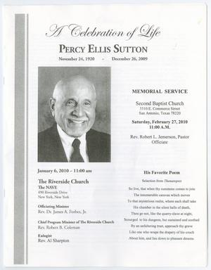 [Funeral Program for Percy Ellis Sutton, January 6, 2010]