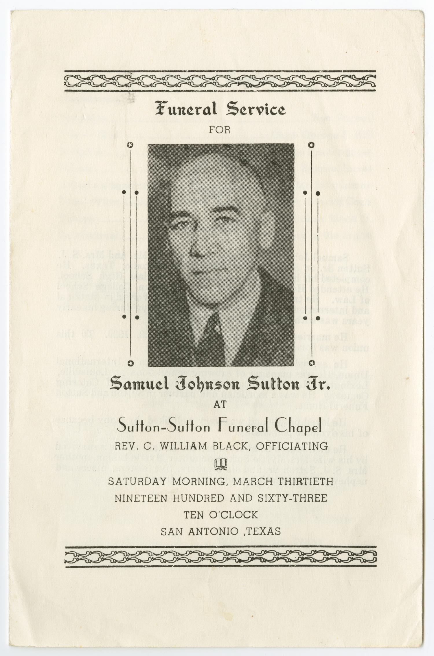 [Funeral Program for Samuel Johnson Sutton, Jr., March 30, 1963]                                                                                                      [Sequence #]: 1 of 3