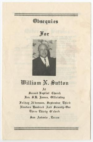 Primary view of object titled '[Funeral Program for William N. Sutton, September 3, 1971]'.