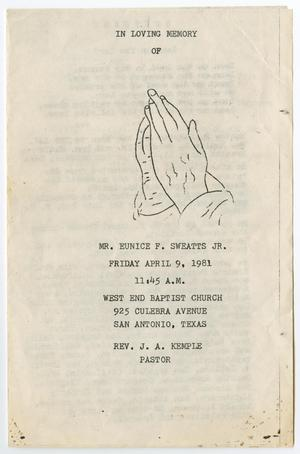 Primary view of object titled '[Funeral Program for Eunice F. Sweatts, Jr., April 9, 1981]'.