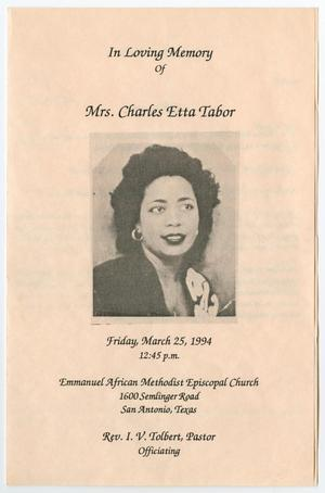 Primary view of object titled '[Funeral Program for Charles Etta Tabor, March 25, 1994]'.