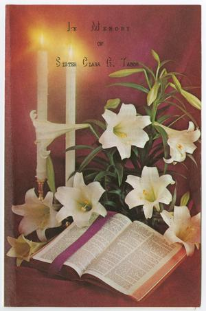 Primary view of object titled '[Funeral Program for Clara G. Tabor, January 9, 1985]'.